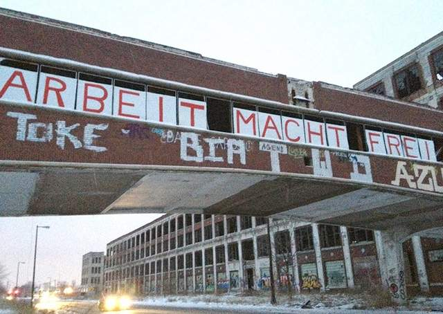 Sign on Packard Plant, Detroit